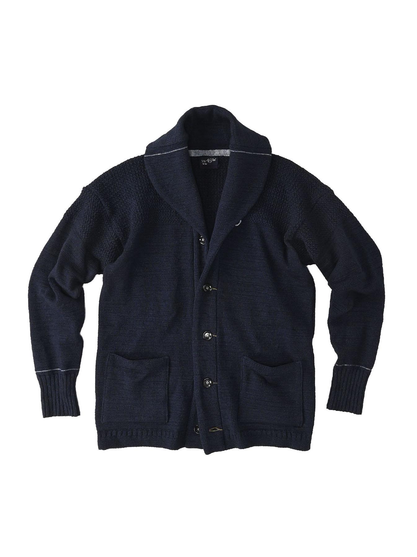 Indigo Stretch Knit Shawl Collar 908 Blouson-1
