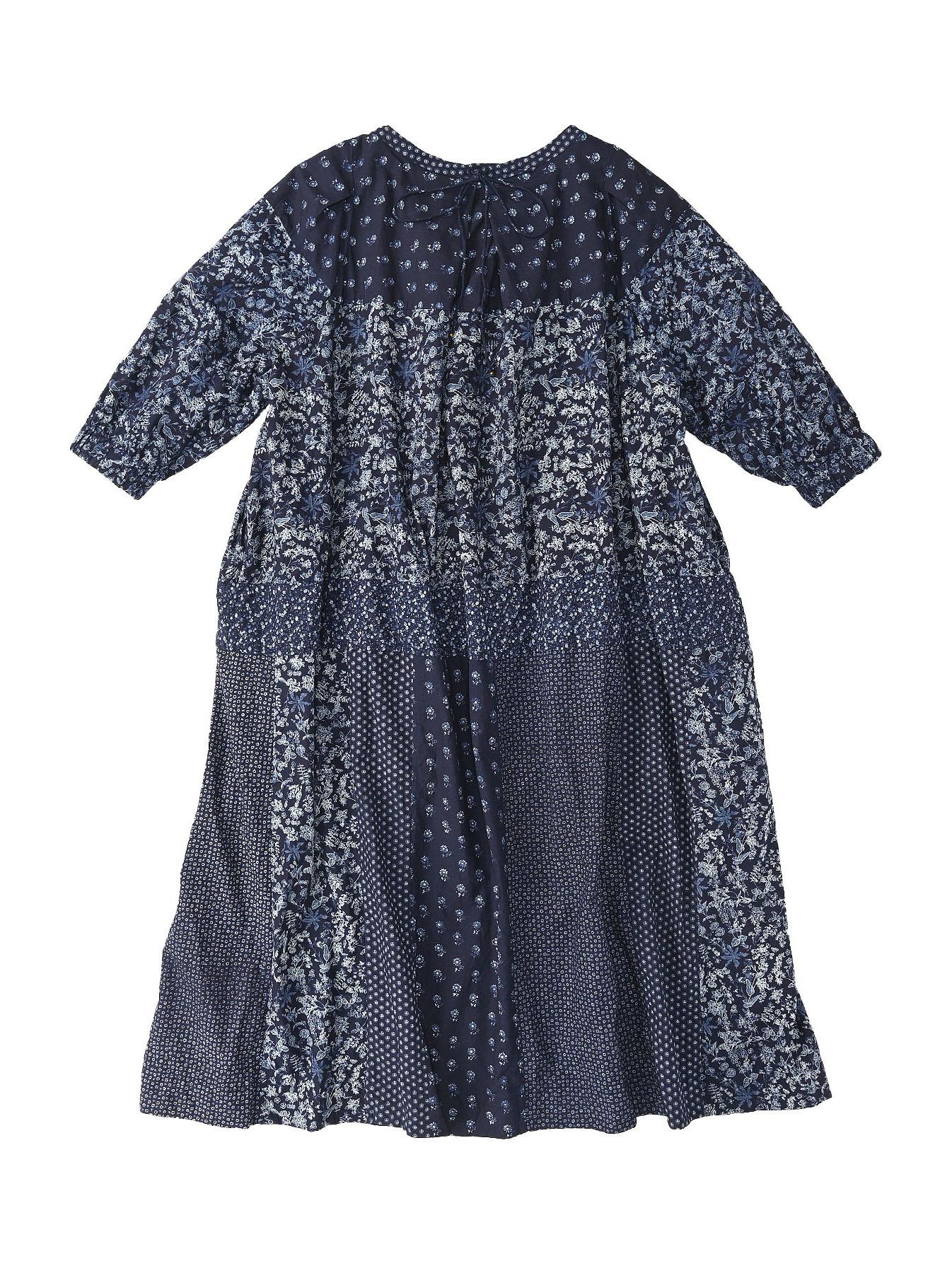 Indigo Tappet Flower Patchwork Dress-5