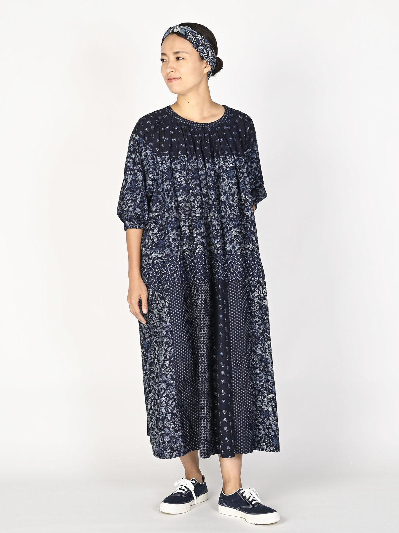 Indigo Tappet Flower Patchwork Dress-2