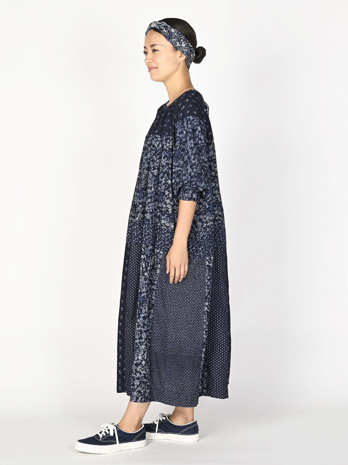 Indigo Tappet Flower Patchwork Dress-3