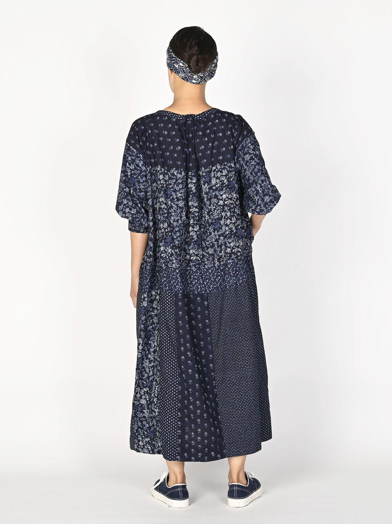 Indigo Tappet Flower Patchwork Dress-4