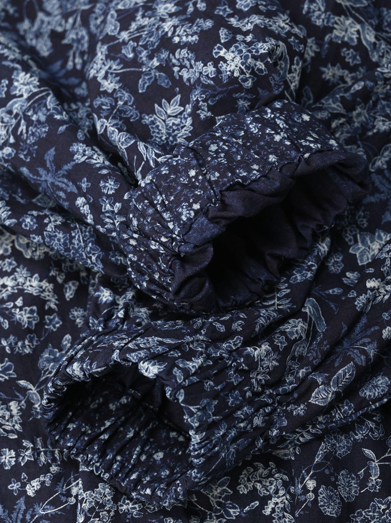 Indigo Tappet Flower Patchwork Dress-7