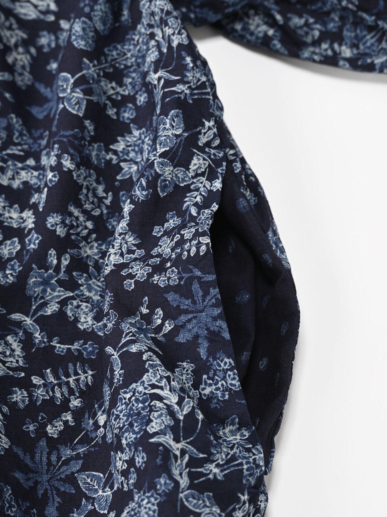 Indigo Tappet Flower Patchwork Dress-8