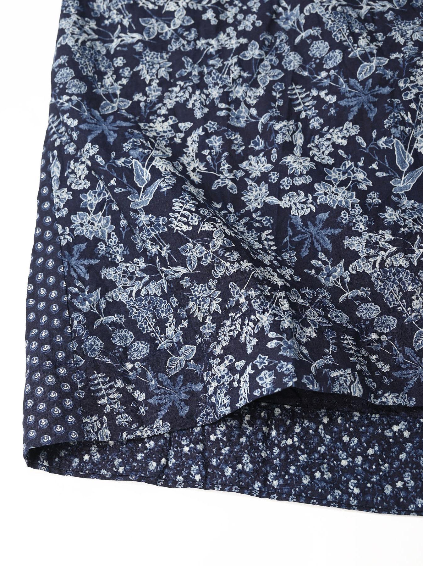 Indigo Tappet Flower Patchwork Dress-9