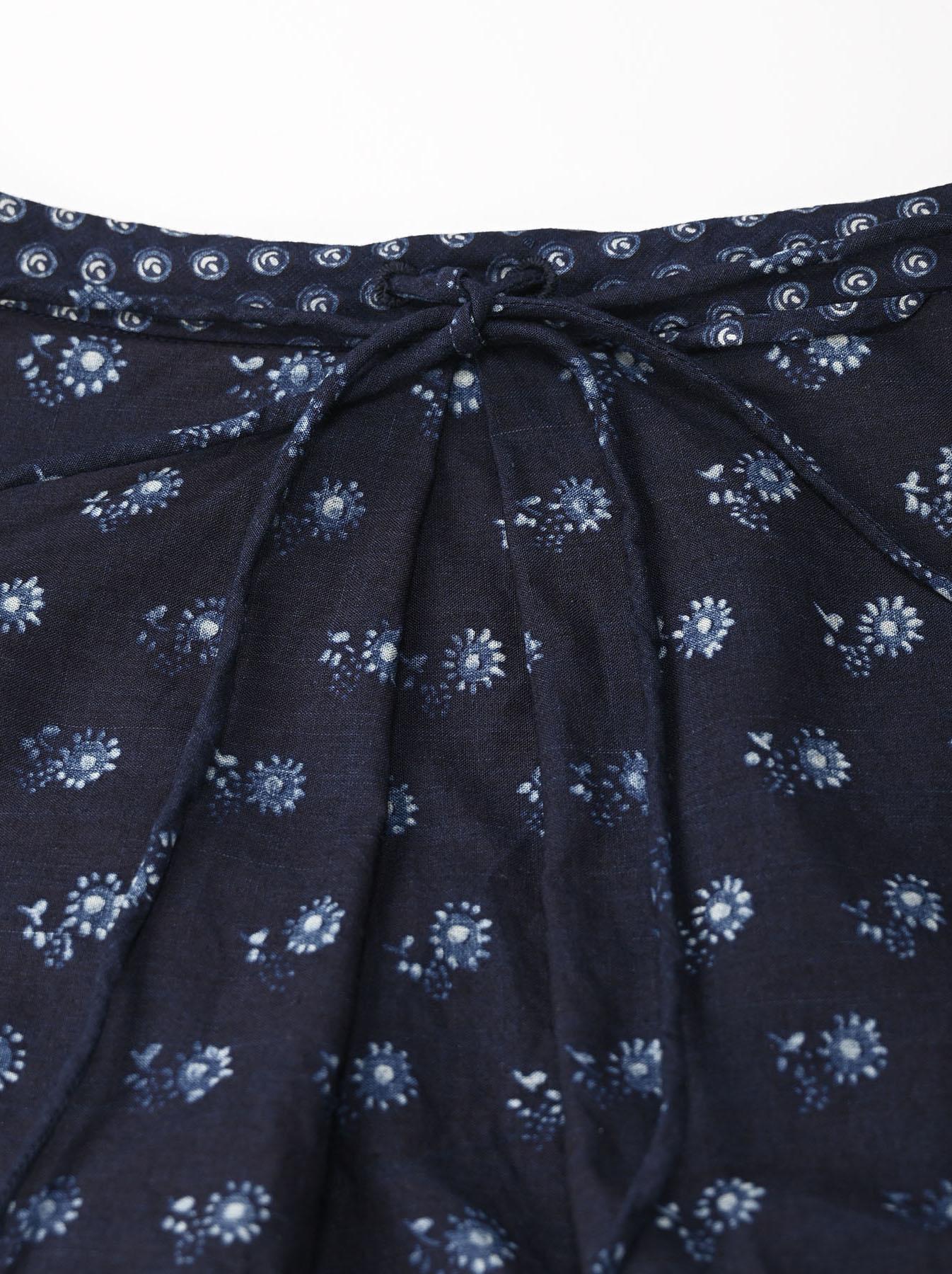 Indigo Tappet Flower Patchwork Dress-10