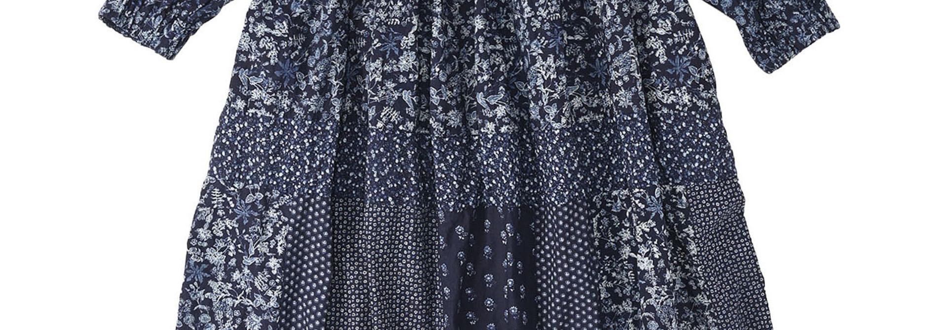 Indigo Tappet Flower Patchwork Dress