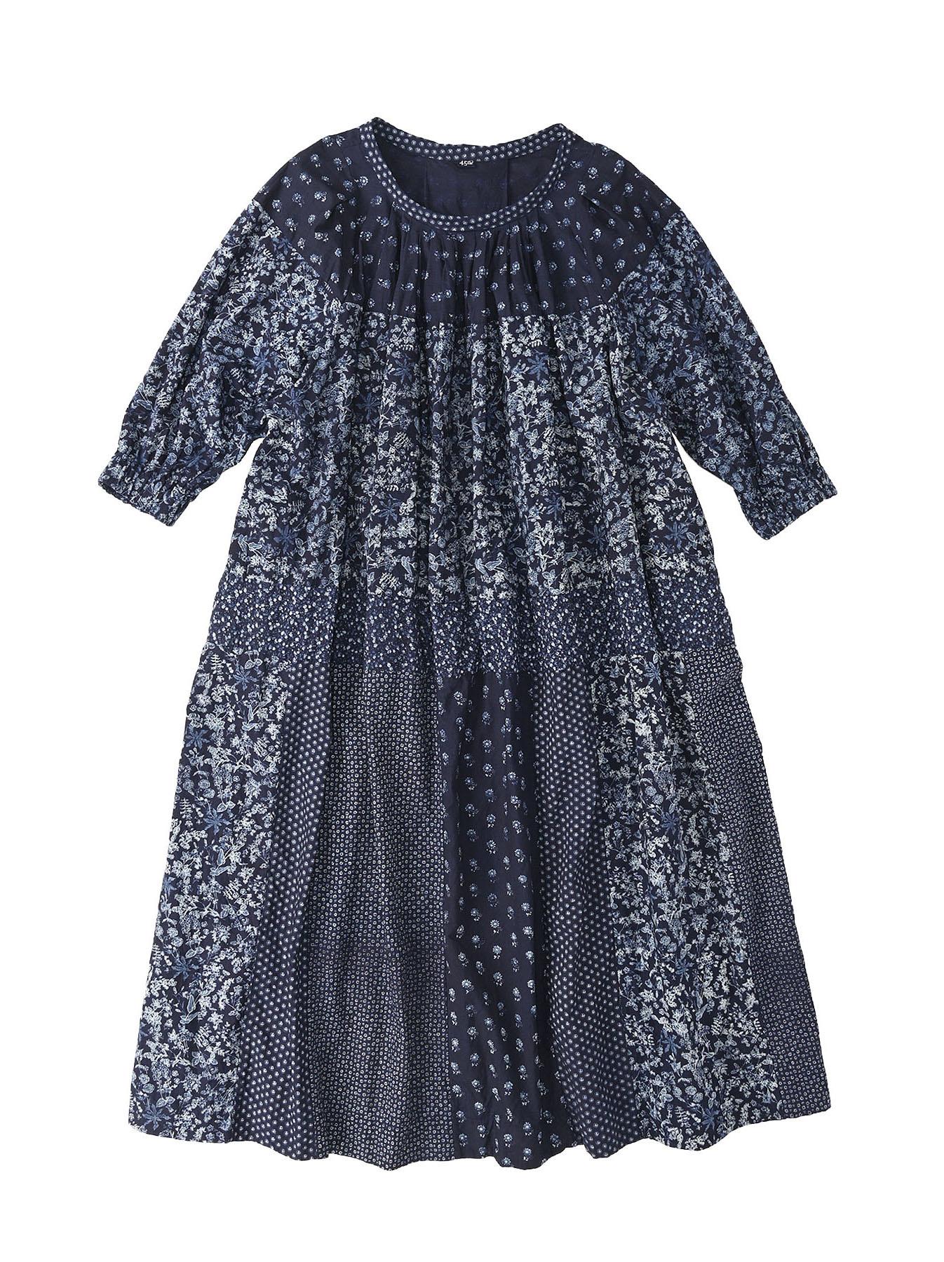 Indigo Tappet Flower Patchwork Dress-1
