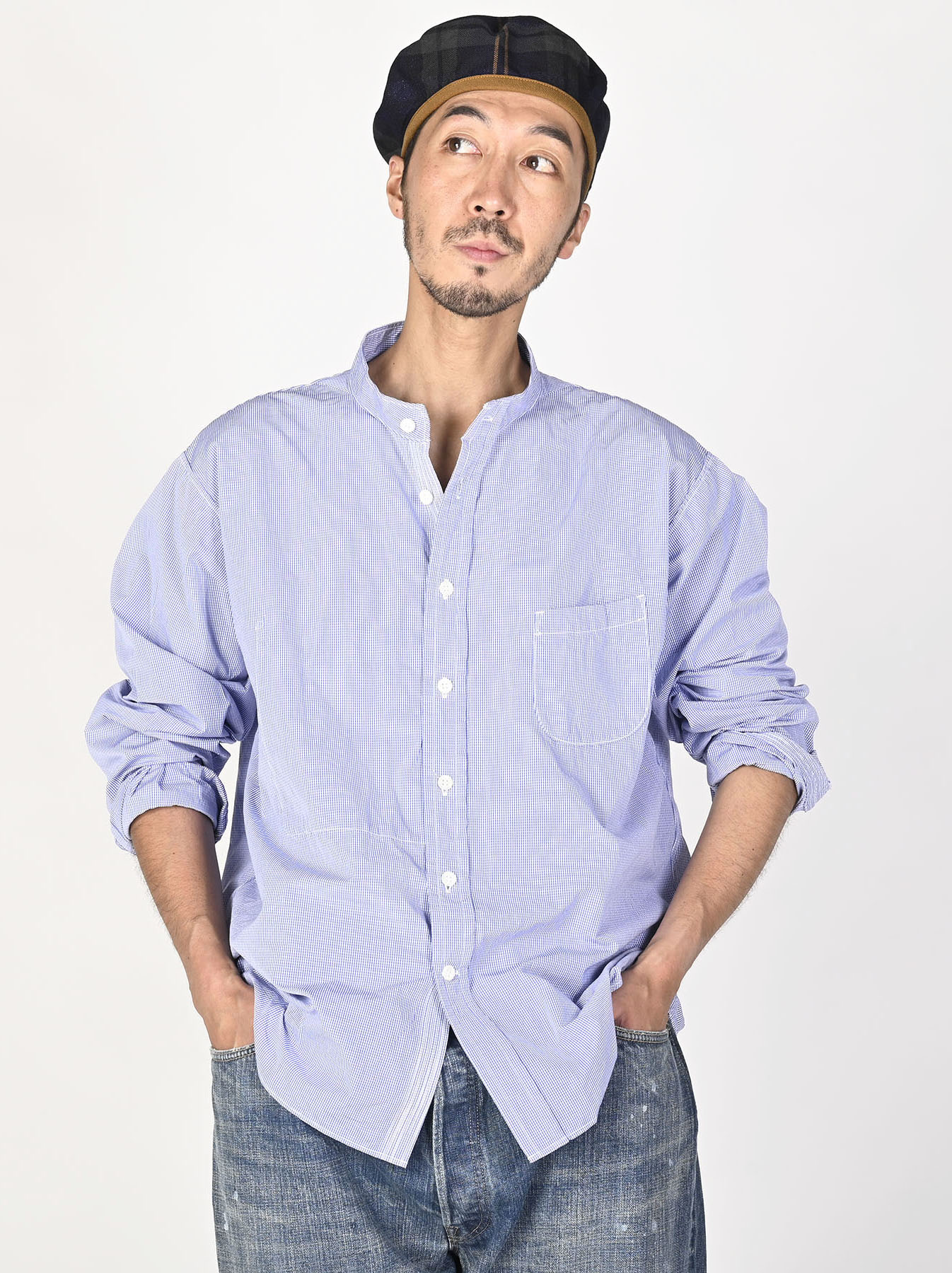 Miko Stand Collar 908 Ocean Shirt-6