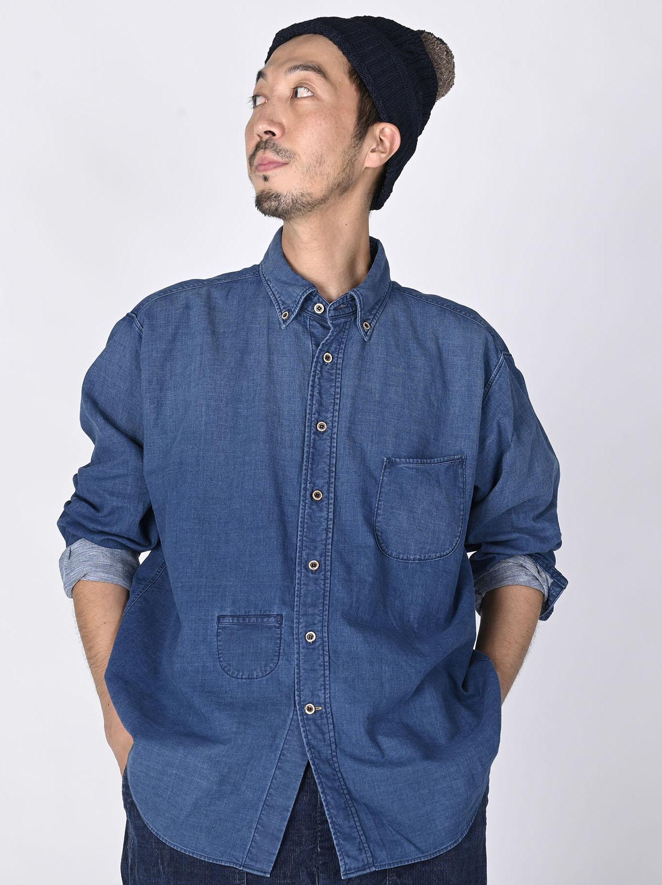 Indigo Gauze 908 Ocean Shirt Distressed-2