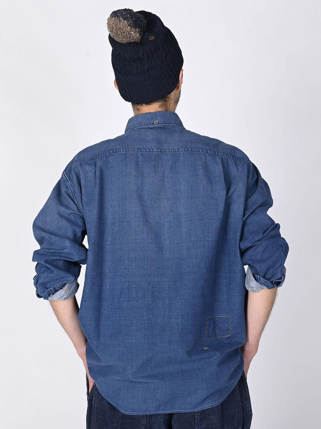 Indigo Gauze 908 Ocean Shirt Distressed-4