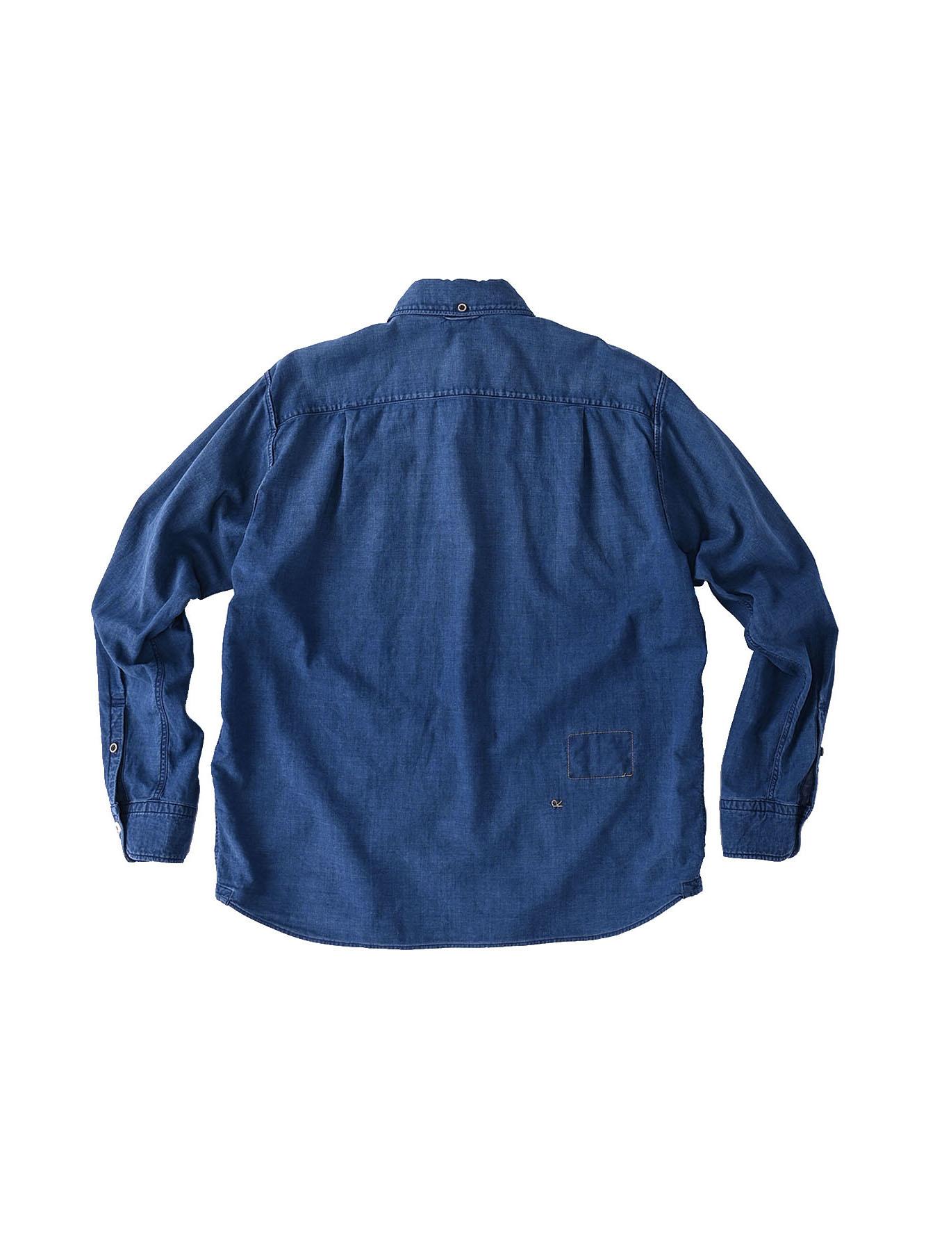 Indigo Gauze 908 Ocean Shirt Distressed-5