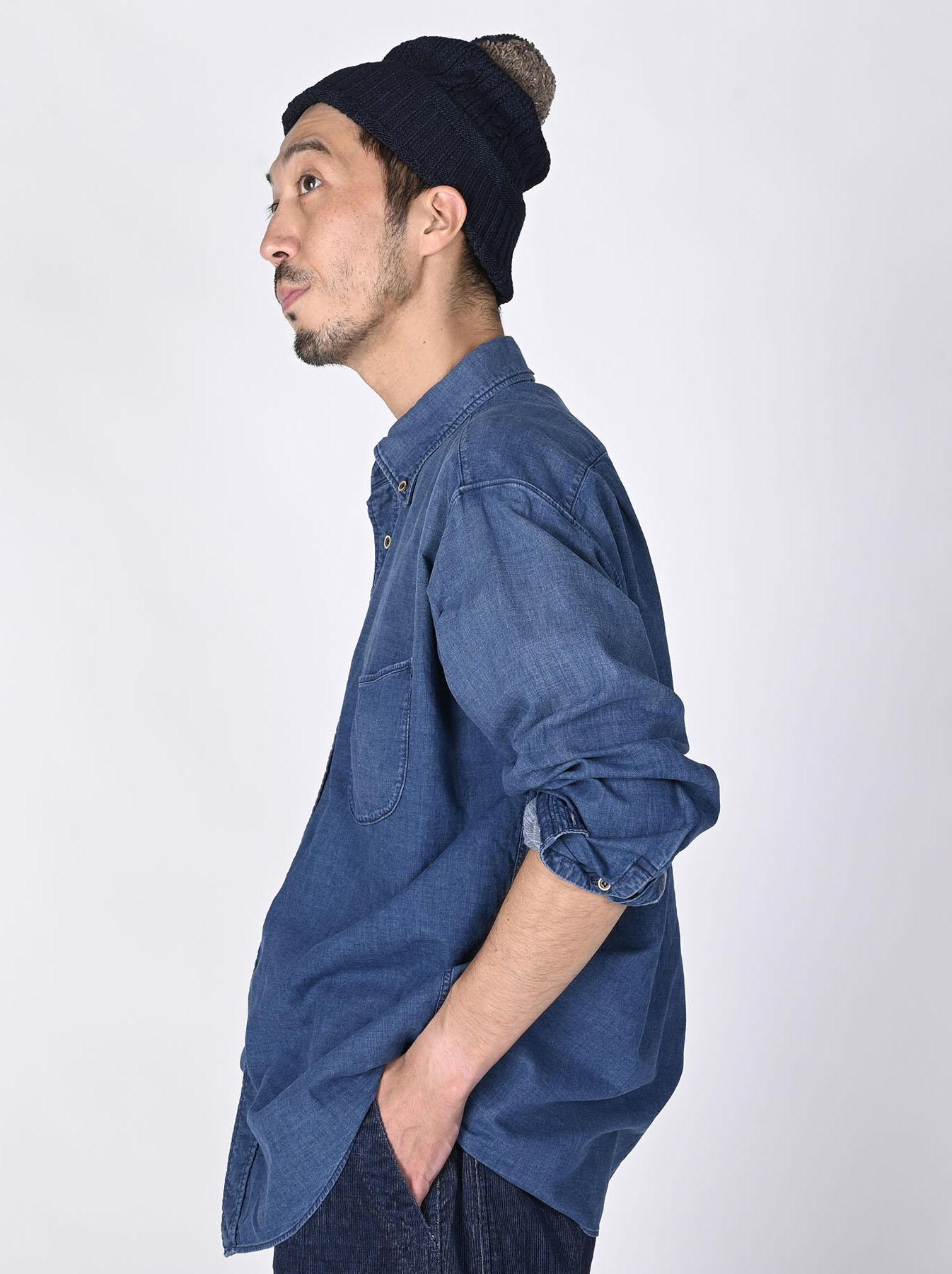 Indigo Gauze 908 Ocean Shirt Distressed-3