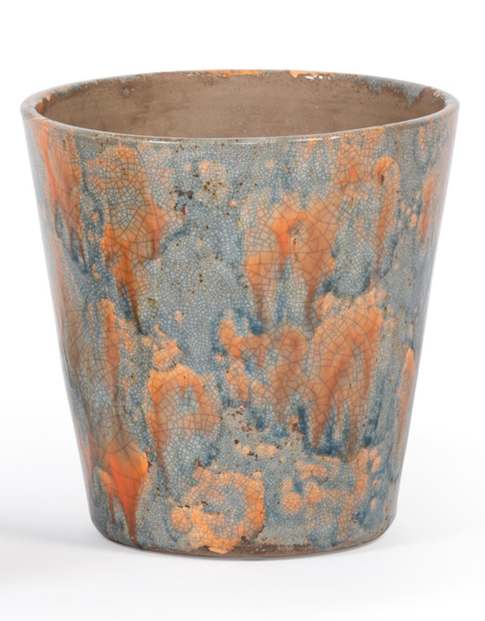 Dekocandle Bloempot conisch blauw/oranje Large