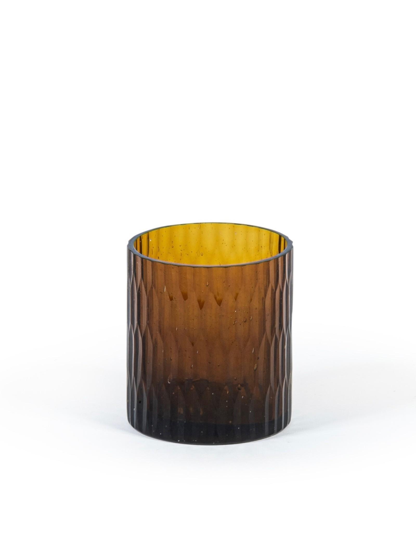 Theelicht geslepen glas  amber cilinder