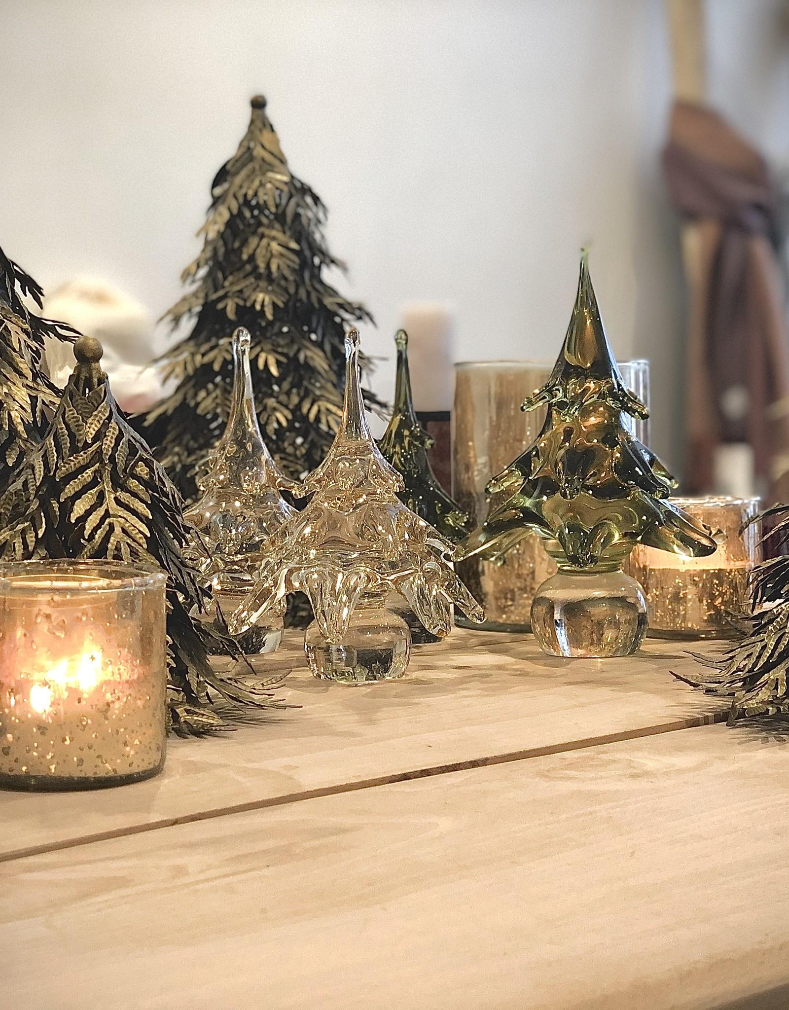 Dekocandle Kerstboom mondgeblazen wit small
