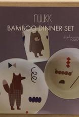 NUUKK Bamboo Kids Diner Set Fox and Friends