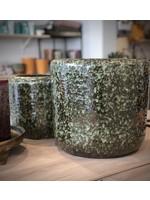 Dekocandle Bloempot Terracotta Zwart/Groen LARGE