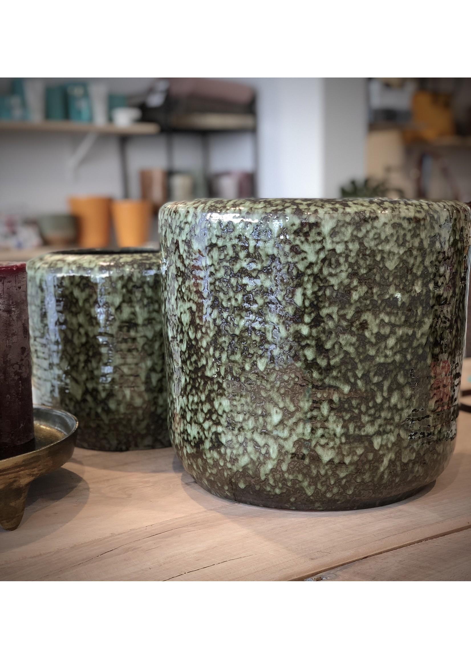 Dekocandle Bloempot Terracotta Zwart/Groen SMALL
