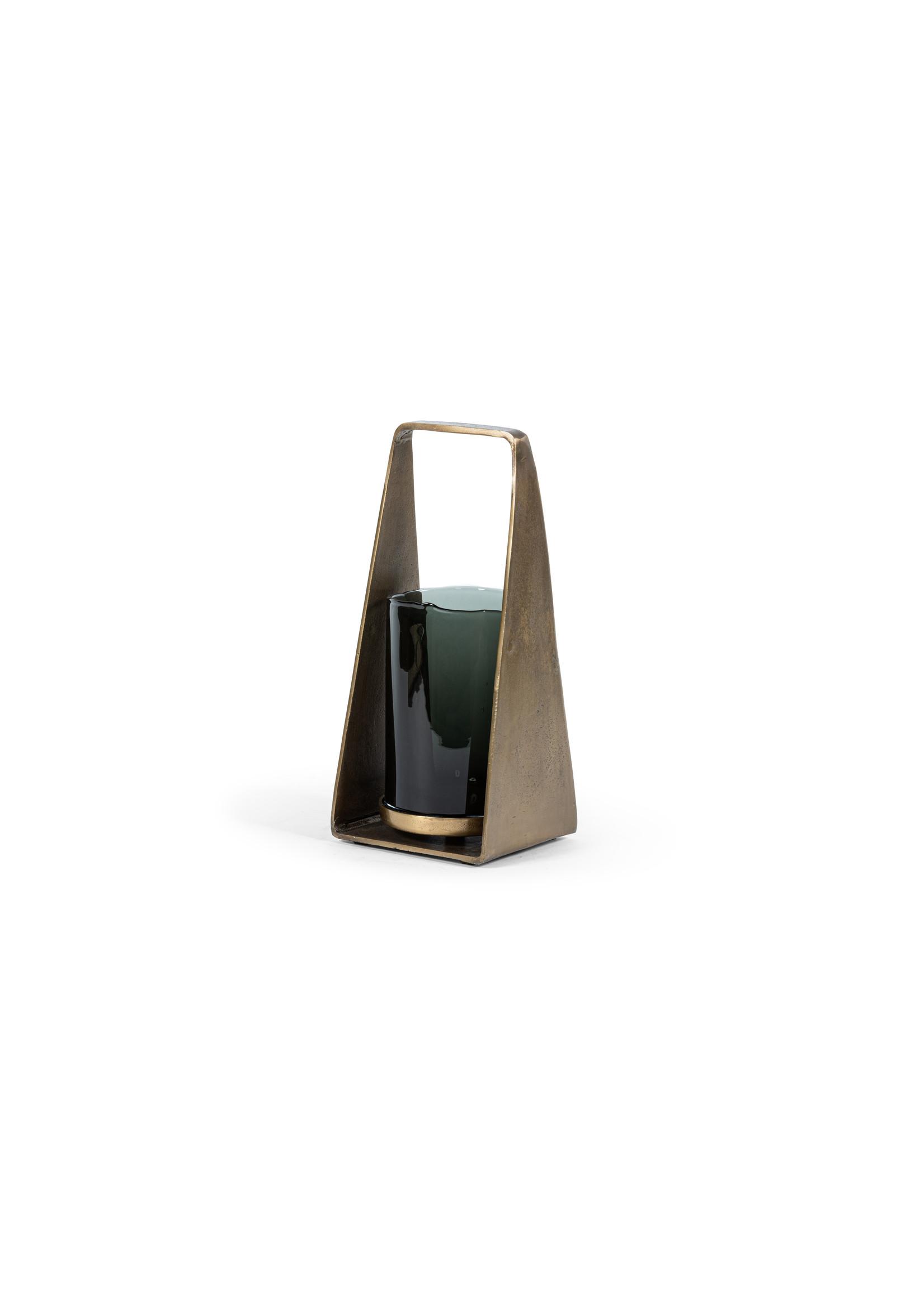 Dekocandle Windlicht antique Brass & Smoke glass