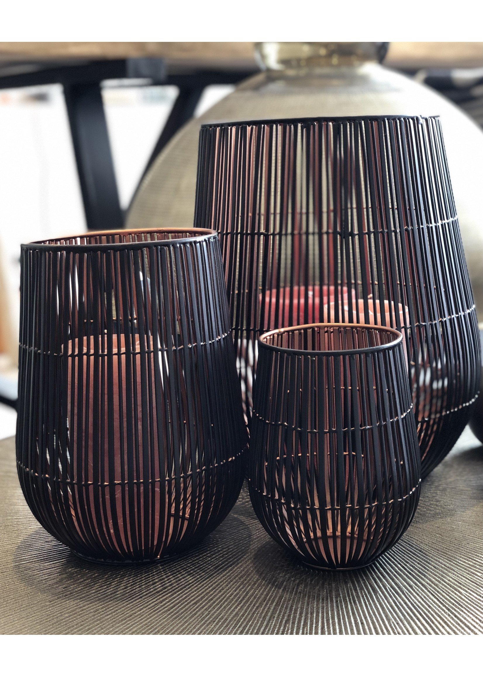 Dekocandle Windlicht Metal Black & Copper Medium