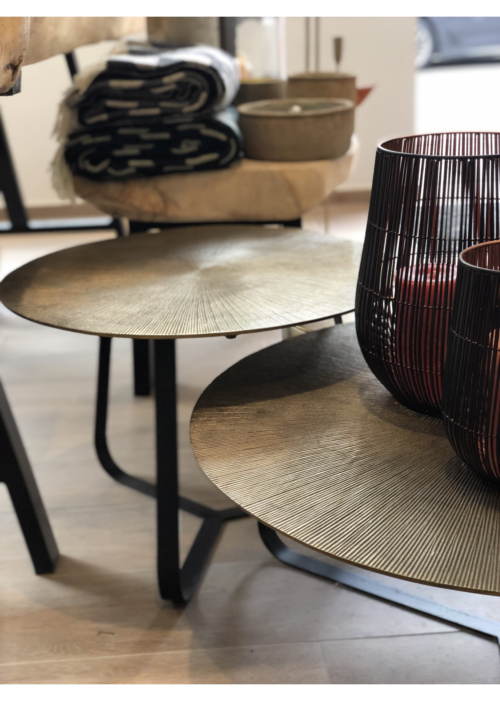Dekocandle Coffeetable Antique Gold & Black