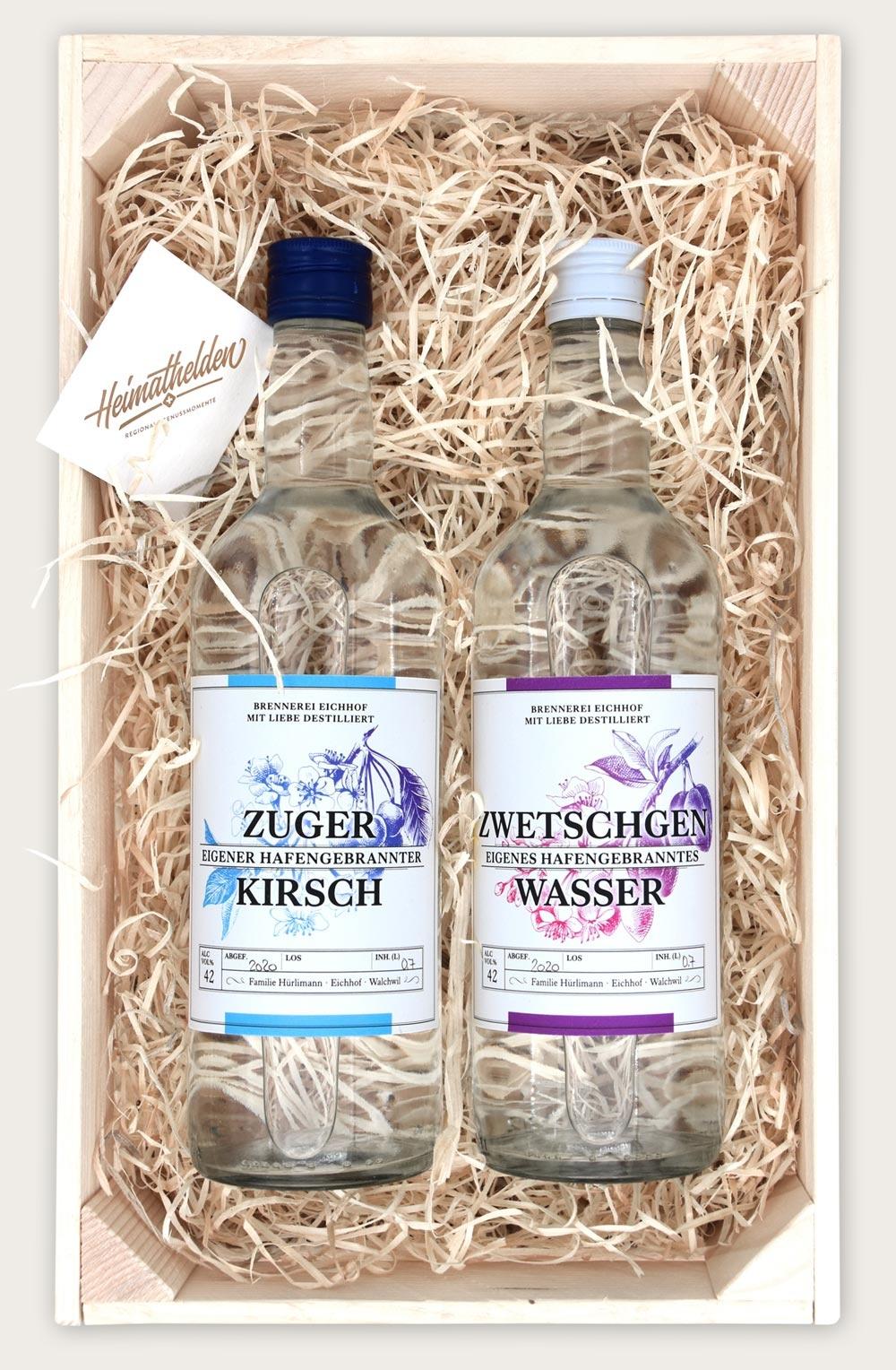 Zuger Kirsch & Zwetschgen Wasser 70cl in Geschenkharasse-2