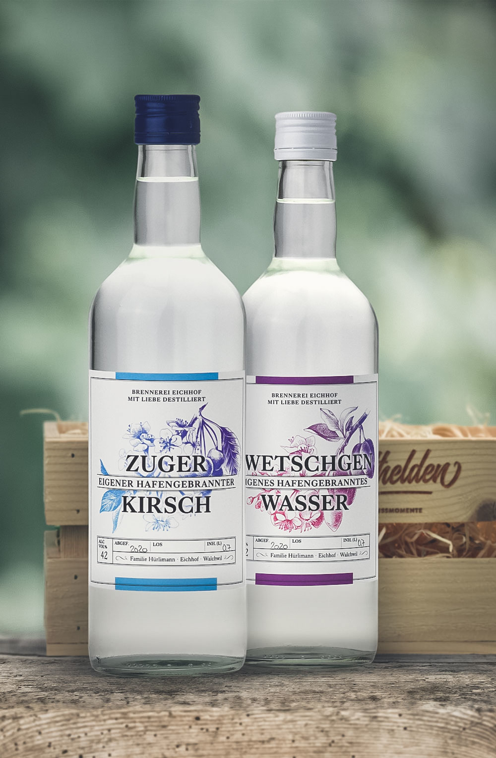 Zuger Kirsch & Zwetschgen Wasser 70cl in Geschenkharasse-1