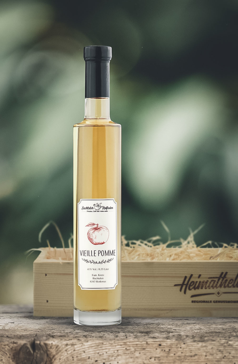 Vieille Pomme 35cl in schöner Geschenk-Holzharasse-1