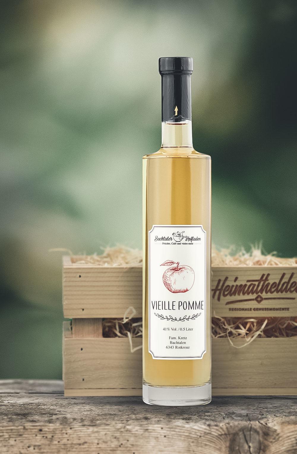Vieille Pomme 50cl in schöner Geschenk-Holzharasse-1