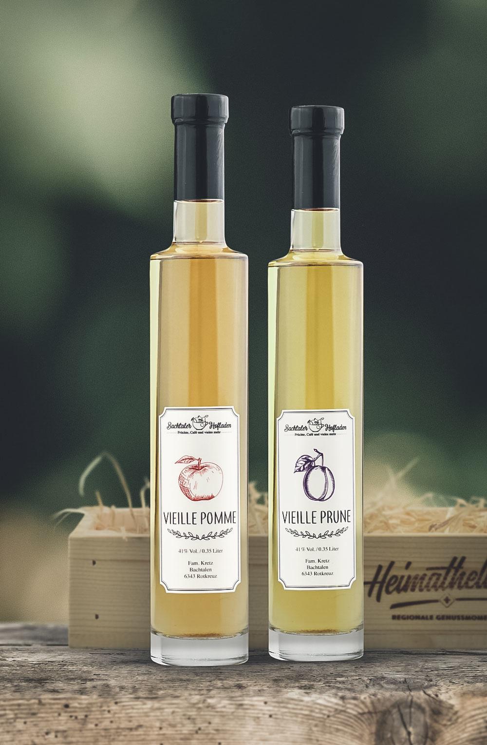 Vieille Prune & Pomme 35cl in schöner Holzharasse-2