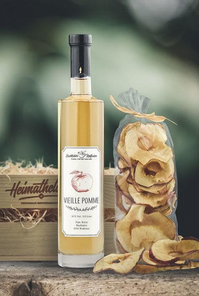 Apfelbox «Vieille Pomme 50cl & Apfelringe»