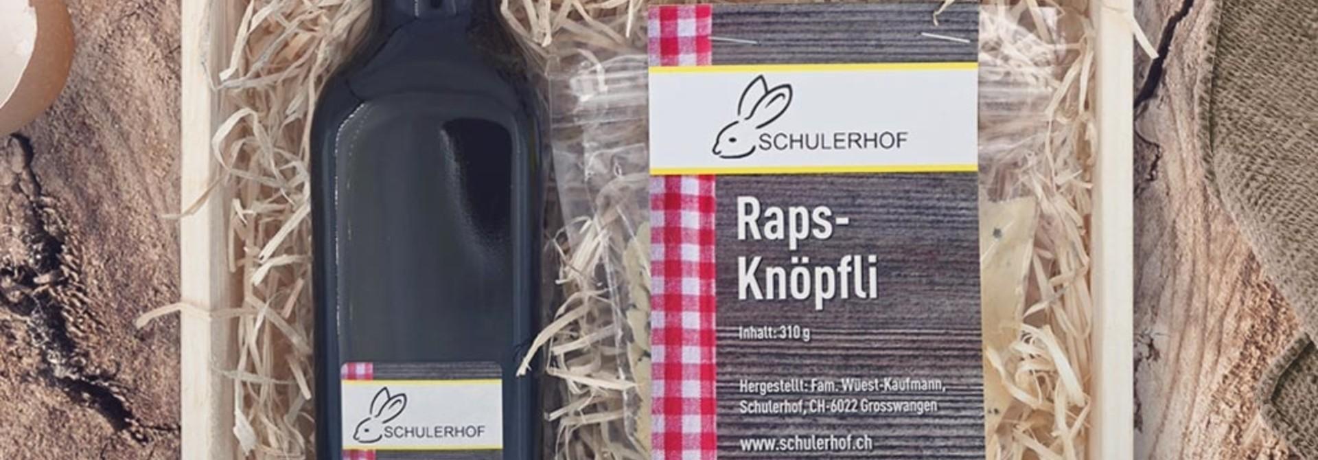 Genussbox «Raps & Süssmost» in dekorativer Geschenkharasse