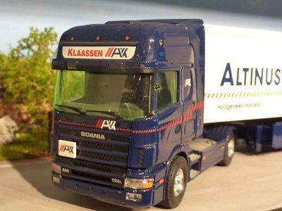 Tekno Tekno Scania 124L Topline with cargofloor semi-trailer Altinus Klaassen