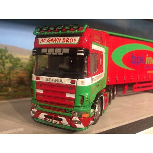 Tekno Tekno Scania 164/480 met schuifzeilen oplegger Mc-Gawn Bros Schotland