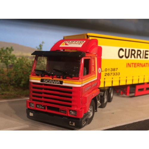 Tekno Tekno Scania 113M streamliner with tautliner semi trailer Currie European