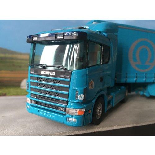 Tekno Tekno Scania 124L/360 met schuifzeilenoplegger Securicor Omega Logistics