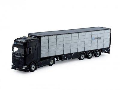 Tekno Scania S met 3-assige resin vlakke veeoplegger Sucatrans België