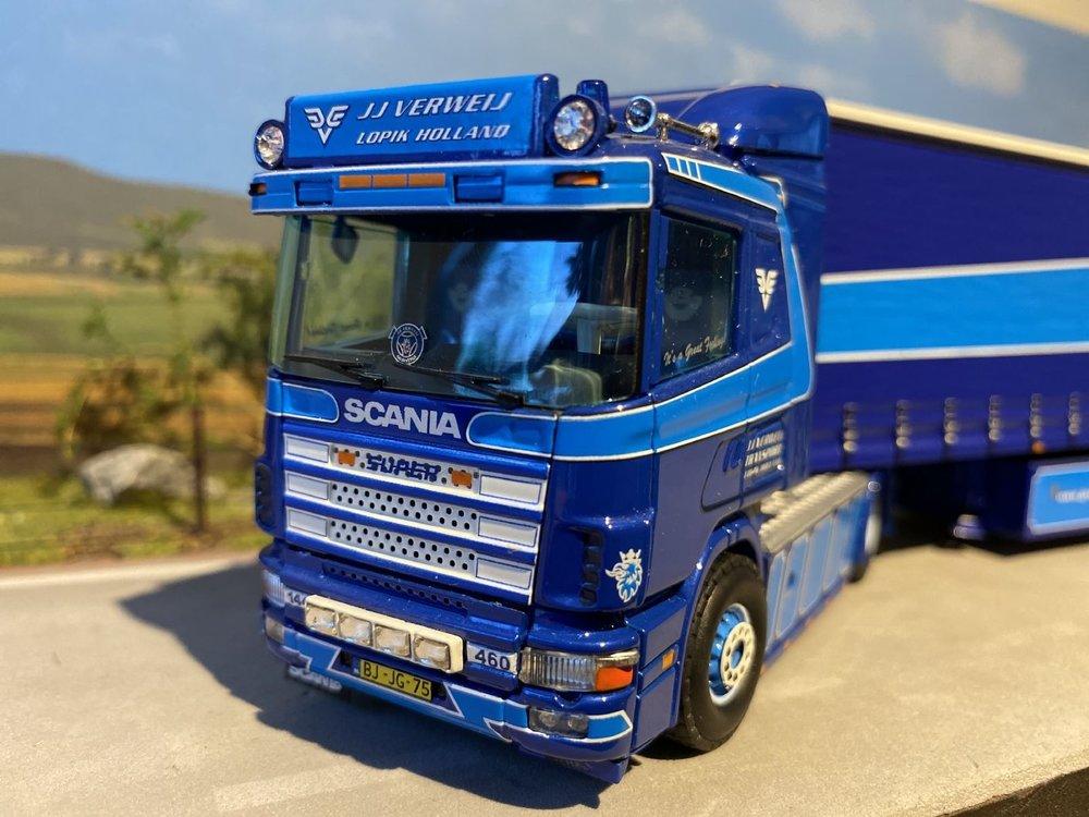 Tekno Tekno Scania 144L met schuifzeilen oplegger JJ Verweij Lopik