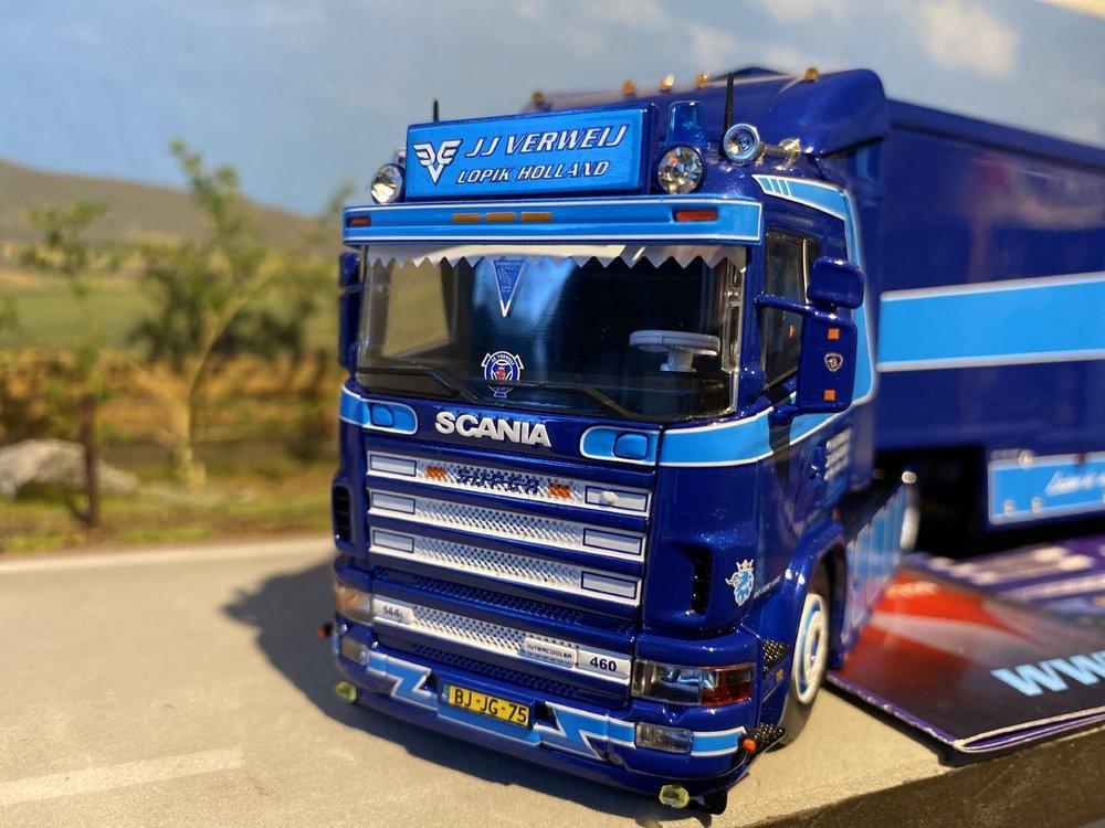 Tekno Tekno Scania 144L met schuifzeilen oplegger JJ Verweij Lopik 2e uitgave