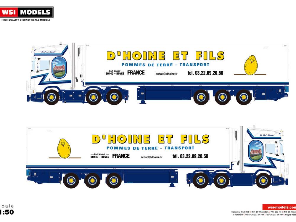 WSI WSI Scania S Highline 6x2 met koeloplegger D'Hoine