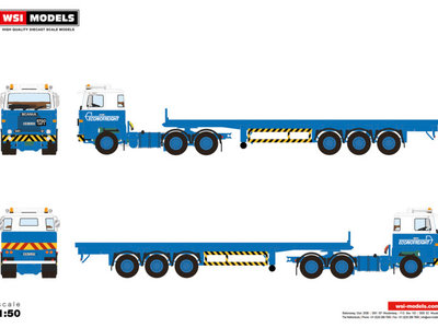 WSI WSI Scania 1 series 6x4 flat bed trailer - 3 axle Econofreight