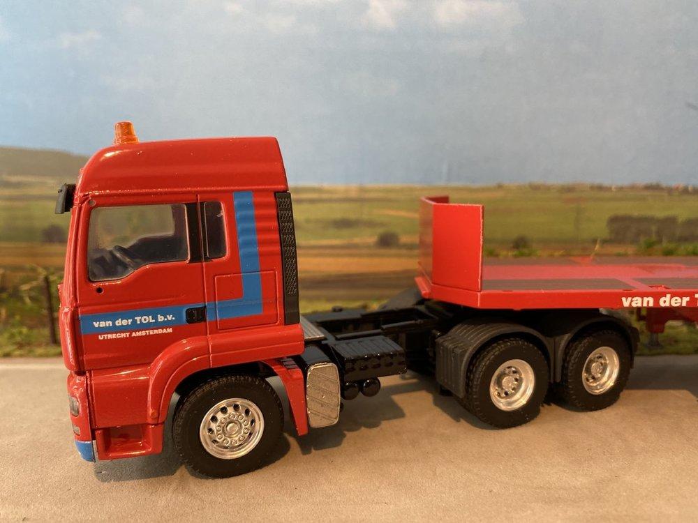 Conrad Modelle Conrad MAN TGA met Goldhofer flatbed oplegger van der Tol