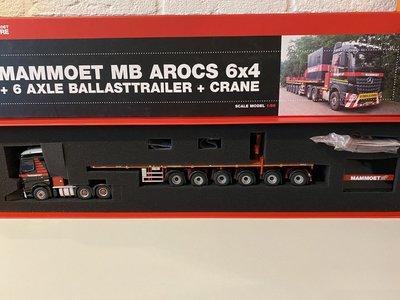 Mammoet store IMC Mercedes Arocs 6x4 met ballasttrailer + crane Mammoet