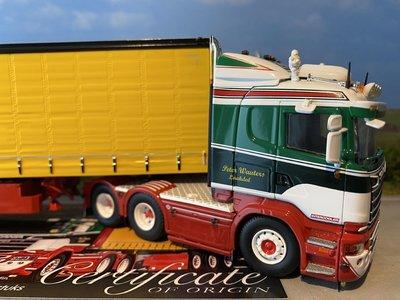 Tekno Tekno Scania R met schuifzeilen oplegger PWT