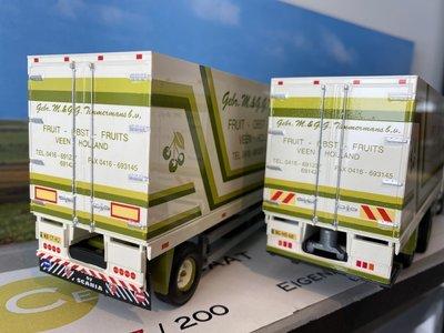 Tekno Tekno Scania 124L Topline bakwagen met aanhanger Gebr. Timmermans