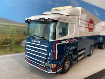 Tekno Tekno Scania 144L/460 bakwagen met aanhanger van Dijk Delft