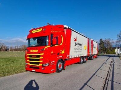 Tekno Tekno Scania Next Gen R-serie Highline schuifzeilen combinatie Gschwend Transporte