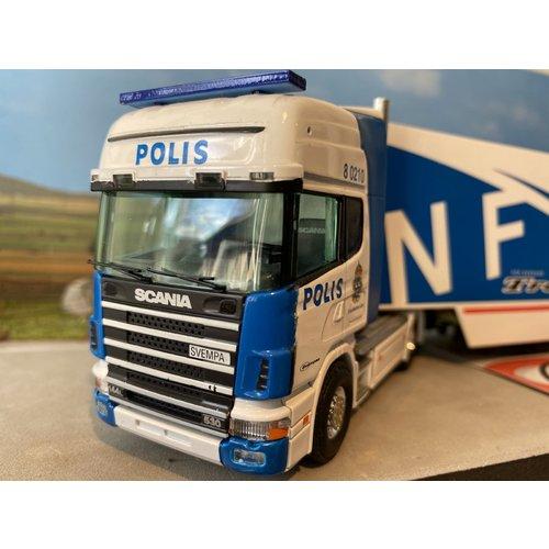 Tekno Tekno Scania 144/530 met gesloten oplegger POLIS Sweden