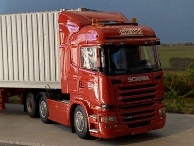 Tekno Tekno Scania R480 Highline met container trailer met 45ft. Container van Dijk