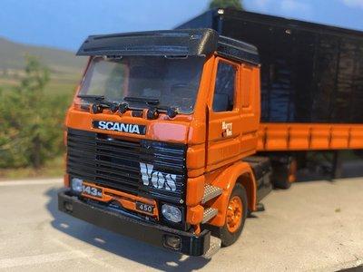 Tekno Tekno Scania 143M/450 2 as Trekker met 3 as Schuifzeilenoplegger Vos Logistics